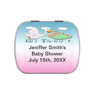Boy & Girl Twins 2 - Stork Baby Shower Cnady Tin Jelly Belly Tins