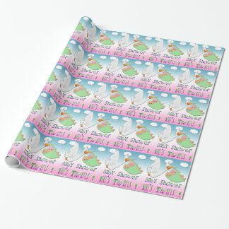Boy & Girl Twins 2 - Stork Baby Shower Gift Wrap