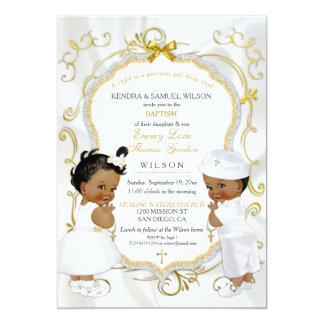 Boy & Girl Twins Baptism Christening Ethnic Card
