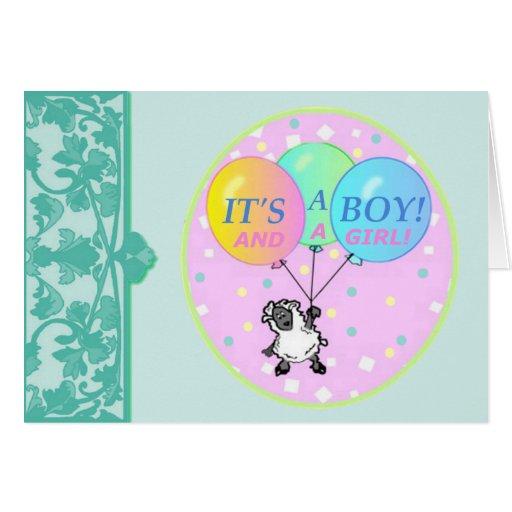 Boy Girl Twins Birth Announcement template Greeting Card