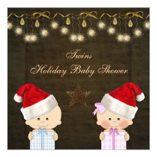 Boy Girl Twins Christmas Baby Shower Custom Invitations