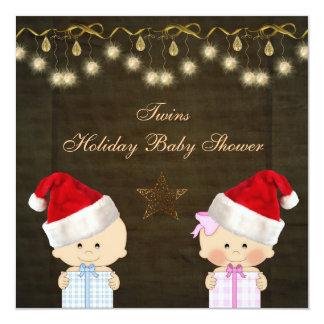 Boy & Girl Twins Christmas Baby Shower Custom Invitations