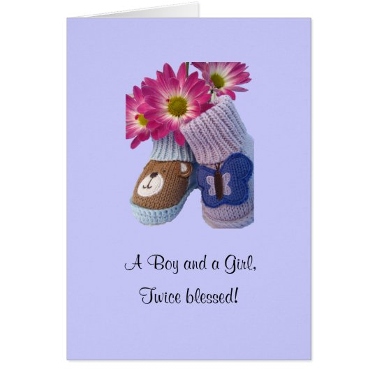 Boy Girl twins: twice blessed Card
