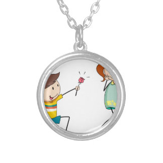 Boy giving flower to girlfriend round pendant necklace