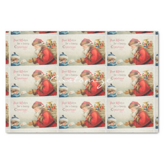 Boy giving letter to Santa Thunder_Cove Vintage Tissue