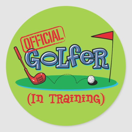 Boy Golfer In Training Round Stickers