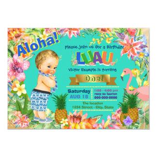 Boy Hawaiian Luau Birthday Party 13 Cm X 18 Cm Invitation Card