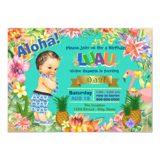 Boy Hawaiian Luau Birthday Party Card
