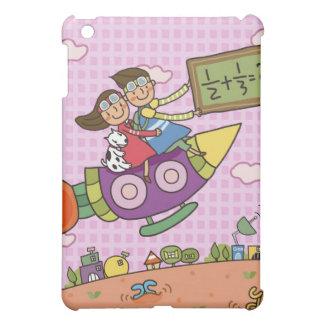 Boy holding a blackboard sitting with a girl on iPad mini covers