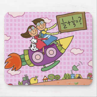 Boy holding a blackboard sitting with a girl on mouse pad