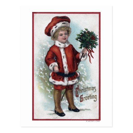 Boy Holding a Bushel of Holly Postcards