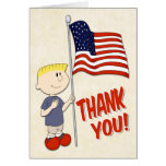 Boy Holding a United States Flag for Veterans Day Greeting Card