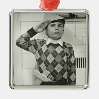Boy Holding a Wooden Sword Silver-Colored Square Decoration