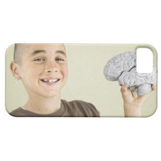 Boy holding human brain model iPhone 5 case