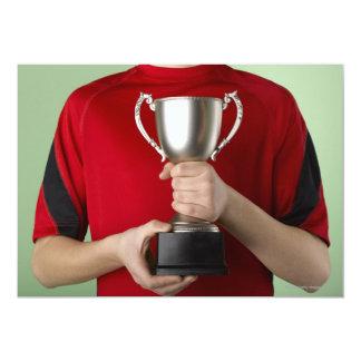 Boy Holding Trophy Card