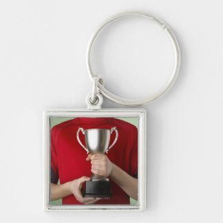 Boy Holding Trophy Silver-Colored Square Key Ring