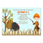 Boy Hunting Turkey In Woods Birthday Invitation