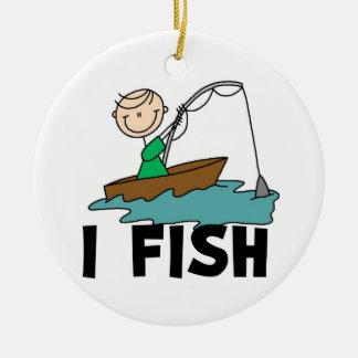 Boy I Fish Round Ceramic Decoration