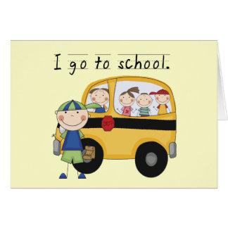Boy I Go To School T-shirts and Gifts Greeting Cards