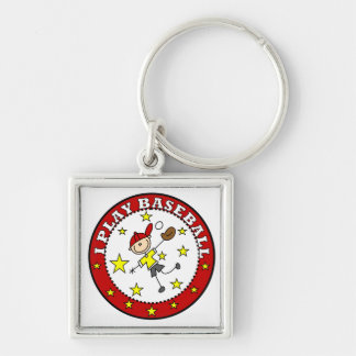 Boy I Play Baseball T-shirts and Gifts Silver-Colored Square Key Ring
