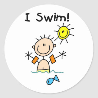 Boy I Swim T-shirts and Gifts Classic Round Sticker