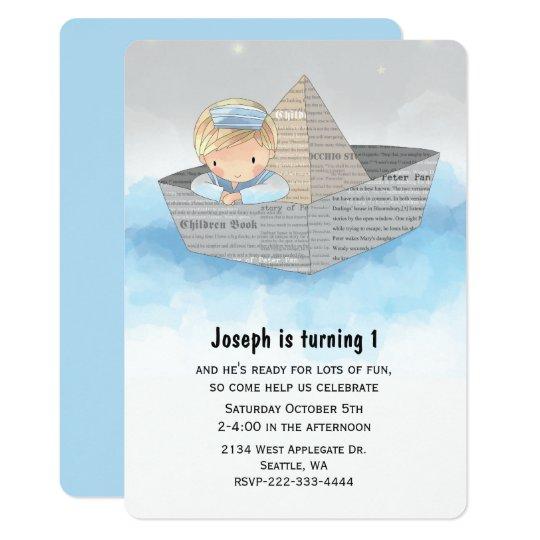 Boy in Boat Babys First Birthday Invitation