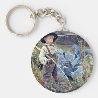 Boy in Cabbage Garden painting Keychain