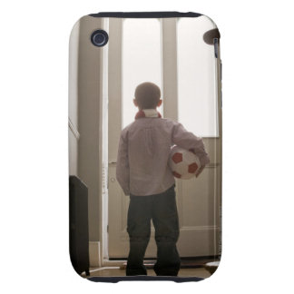 Boy in foyer with soccer ball iPhone 3 tough case