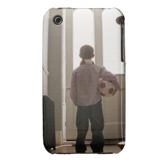 Boy in foyer with soccer ball Case-Mate iPhone 3 cases