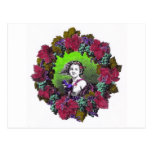 Boy in grape wreath, green grapes and purple post card