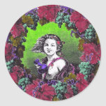 Boy in grape wreath, green grapes and purple stickers