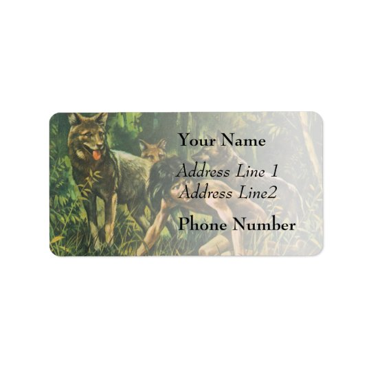 Boy In Jungle With Wolves Address Label