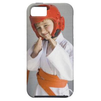 Boy in karate uniform wearing sparring headgear iPhone 5 covers