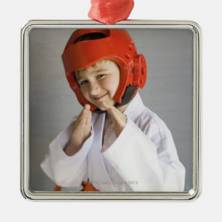 Boy in karate uniform wearing sparring headgear Silver-Colored square decoration