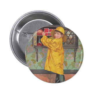 Boy in Raincoat Pinback Buttons