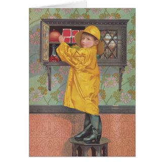 Boy in Raincoat Greeting Card