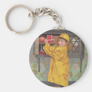Boy in Raincoat Key Chains