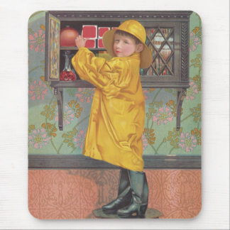 Boy in Raincoat Mouse Pad