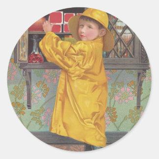 Boy in Raincoat Round Sticker
