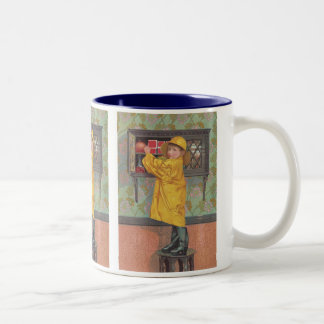 Boy in Raincoat Two-Tone Mug