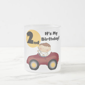 Boy in Red Car 2nd Birthday Tshirts and Gifts Frosted Glass Mug