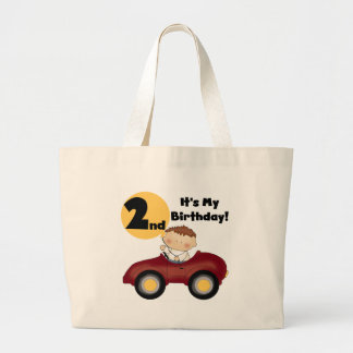 Boy in Red Car 2nd Birthday Tshirts and Gifts Jumbo Tote Bag