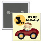 Boy in Red Car 3rd Birthday T-shirts and Gifts 15 Cm Square Badge