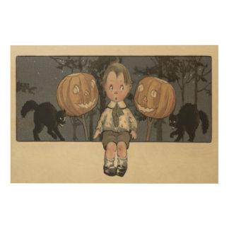 Boy Jack O Lantern Black Cat Night Stars Wood Canvases