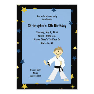 BOY KARATE MARTIAL ART BIRTHDAY PARTY 13 CM X 18 CM INVITATION CARD