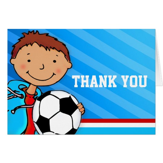 Boy Kids birthday party blue thank you card
