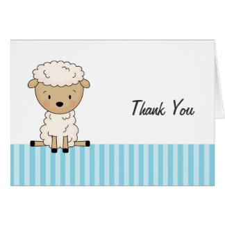 Boy Lamb Baby Shower Blue Stripe Thank You Card