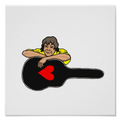 boy leaning on guitar case heart yellow shirt.png poster