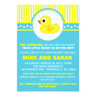 Boy Little Rubber Ducky Baby Shower Invitation