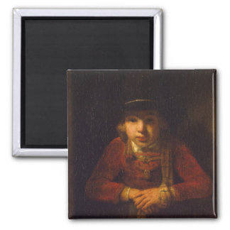 Boy Looking through the Window, c.1647 Square Magnet